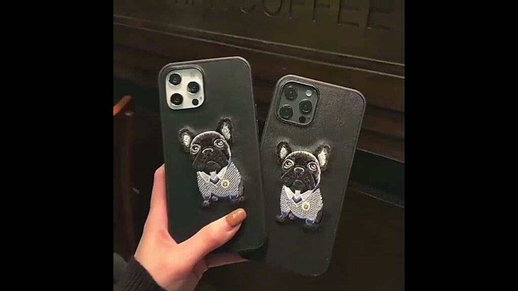 Embroidered Black French Bulldog iPhone Case