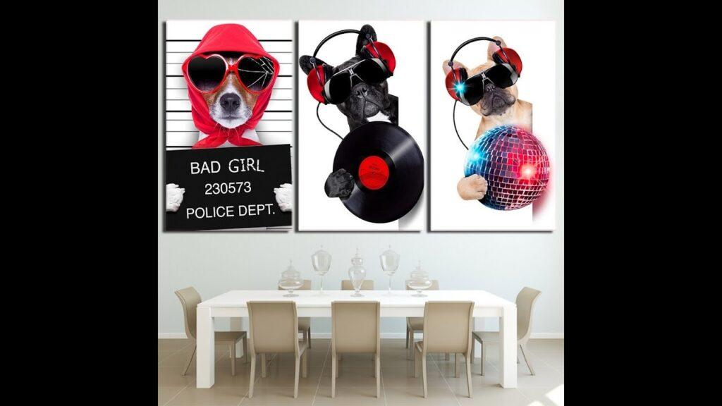 French Bulldog Canvas Wall Art Home Decor 3 Pieces Cool Music Bulldog