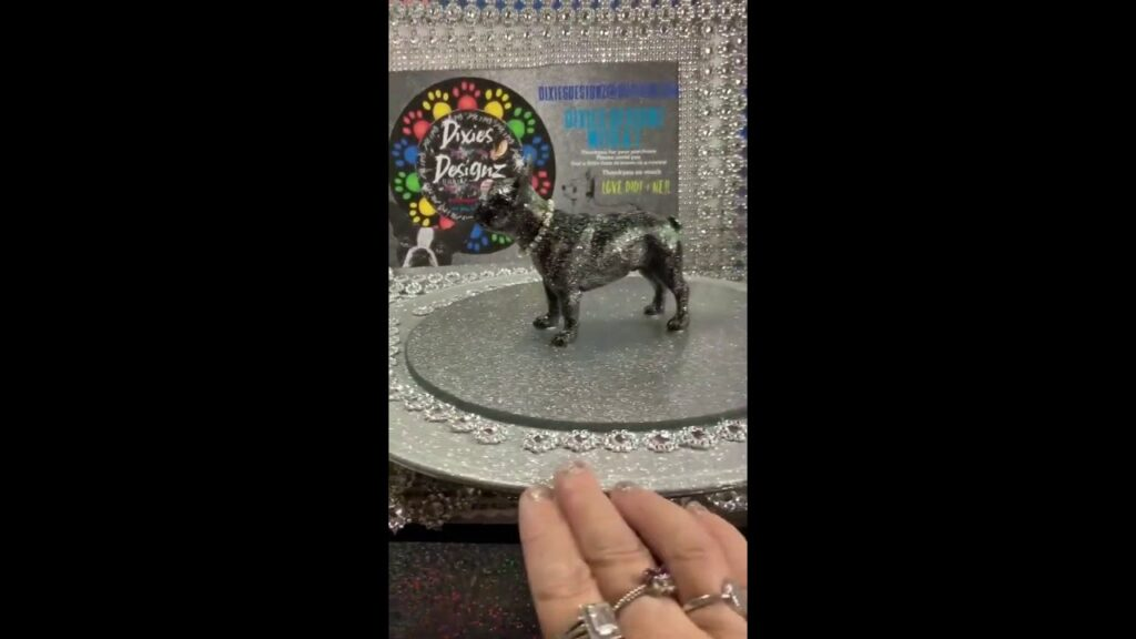 French bulldog statue, in shimmering sparkly black