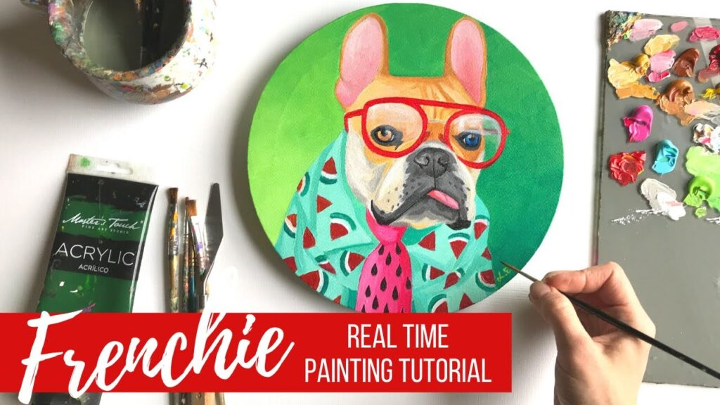 Painting a French Bulldog in Acrylics for Beginners | Art Therapy