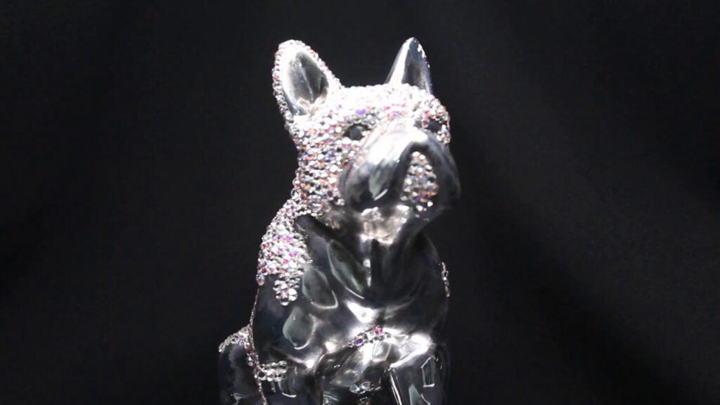 Swarovski French Bulldog Statue custom embellished with Swarovski Crystals